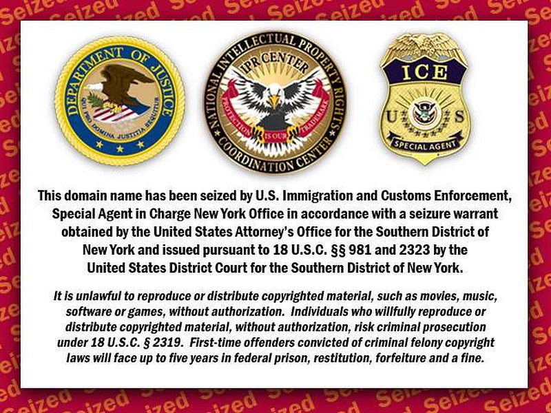 Immigration and Customs Enforcement (ICE) Site seized Notice